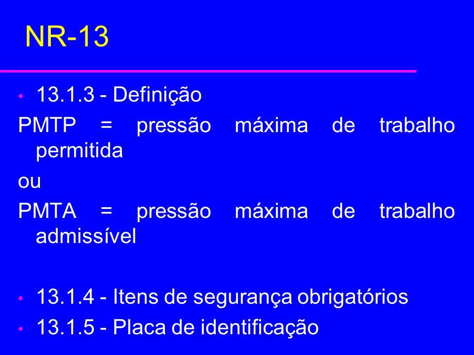NR-13 13.1.3 - Definição PMTP = pressão máxima de trabalho permitida