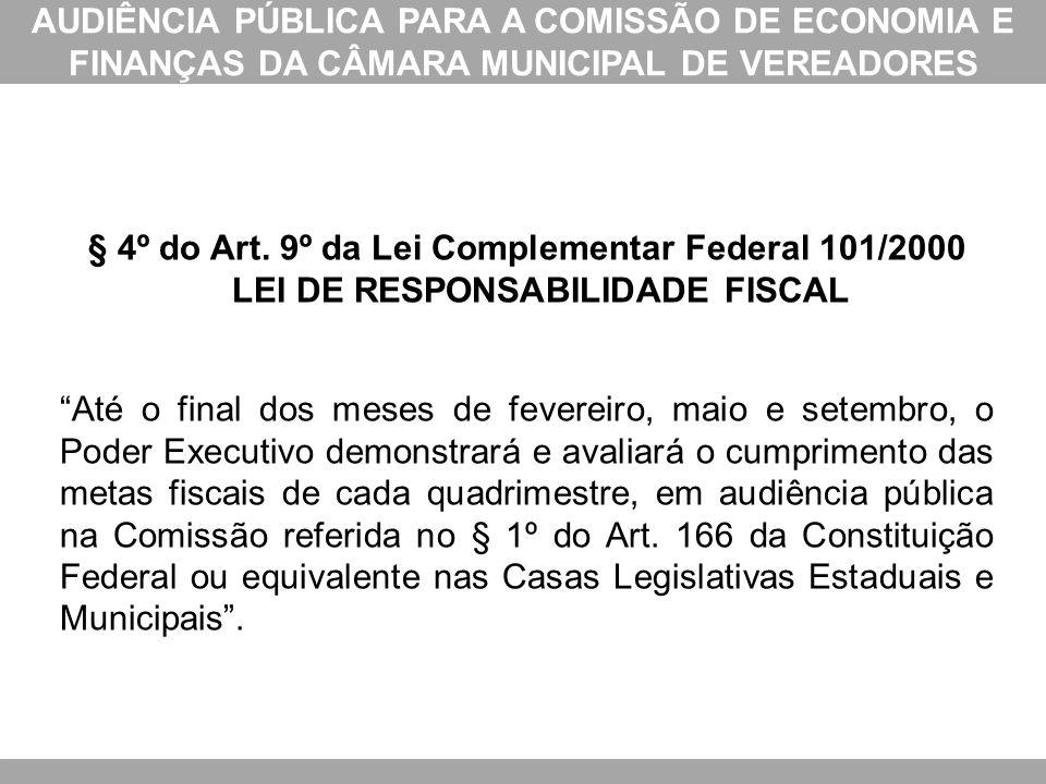 AUDIÊNCIA PÚBLICA PARA A COMISSÃO DE ECONOMIA E FINANÇAS DA CÂMARA MUNICIPAL DE VEREADORES