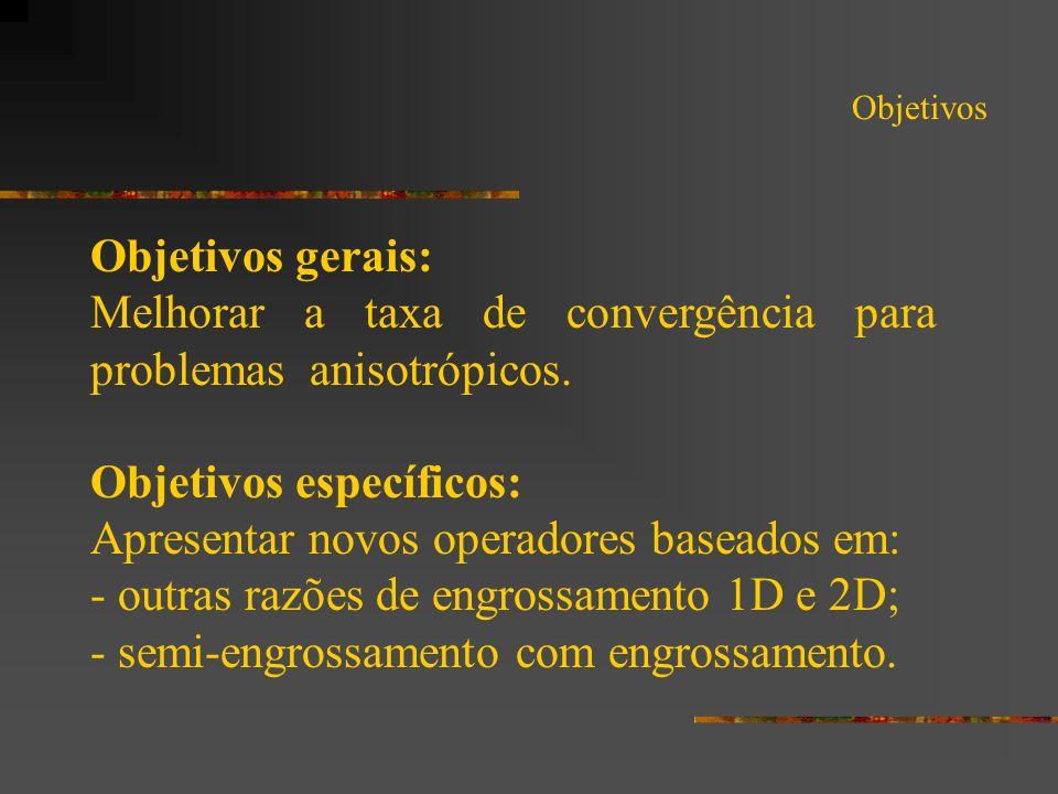Melhorar a taxa de convergência para problemas anisotrópicos.