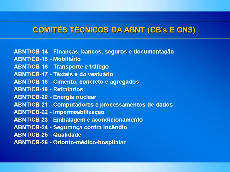 COMITÊS TÉCNICOS DA ABNT (CB's E ONS)