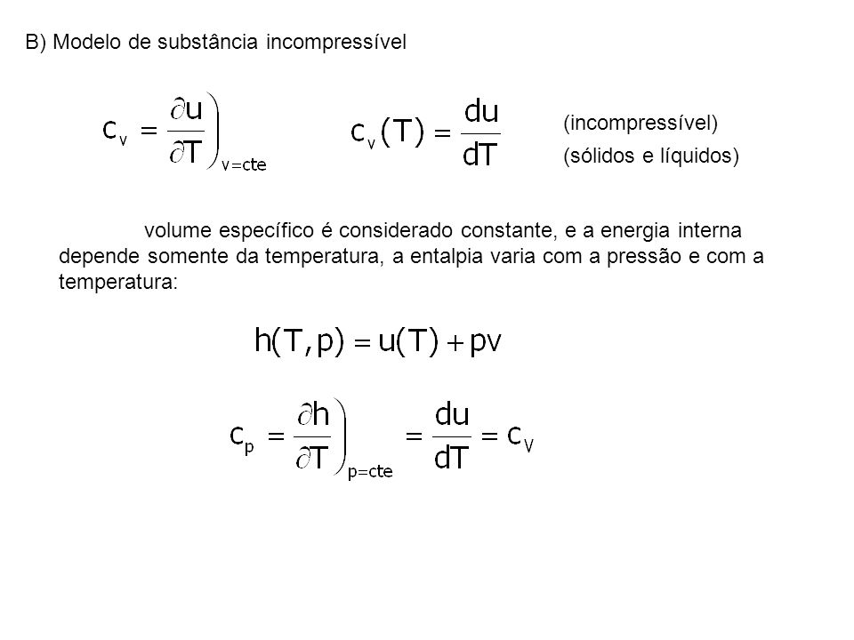 B) Modelo de substância incompressível