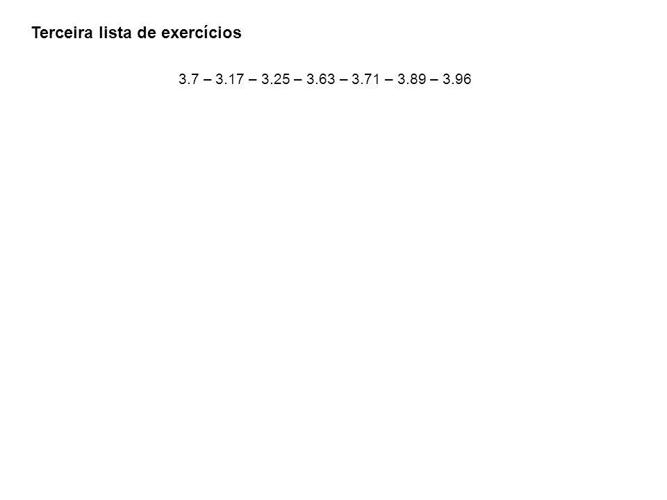 Terceira lista de exercícios