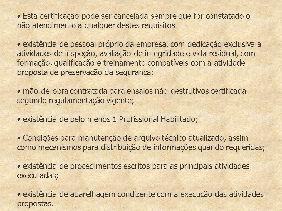 Esta certificação pode ser cancelada sempre que for constatado o não atendimento a qualquer destes requisitos