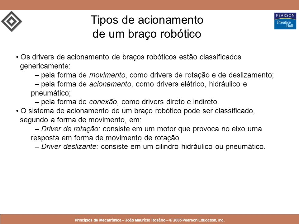 Tipos de acionamento de um braço robótico