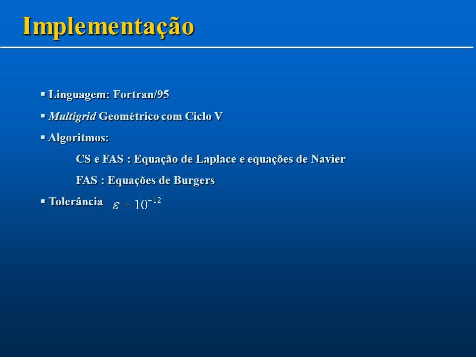 Implementação Linguagem: Fortran/95 Multigrid Geométrico com Ciclo V