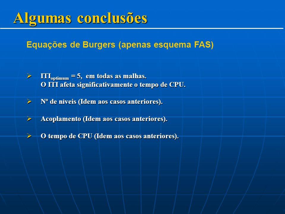 Algumas conclusões Equações de Burgers (apenas esquema FAS)