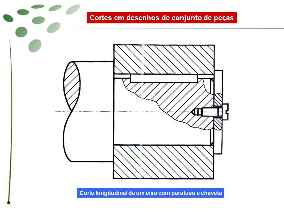 Corte longitudinal de um eixo com parafuso e chaveta