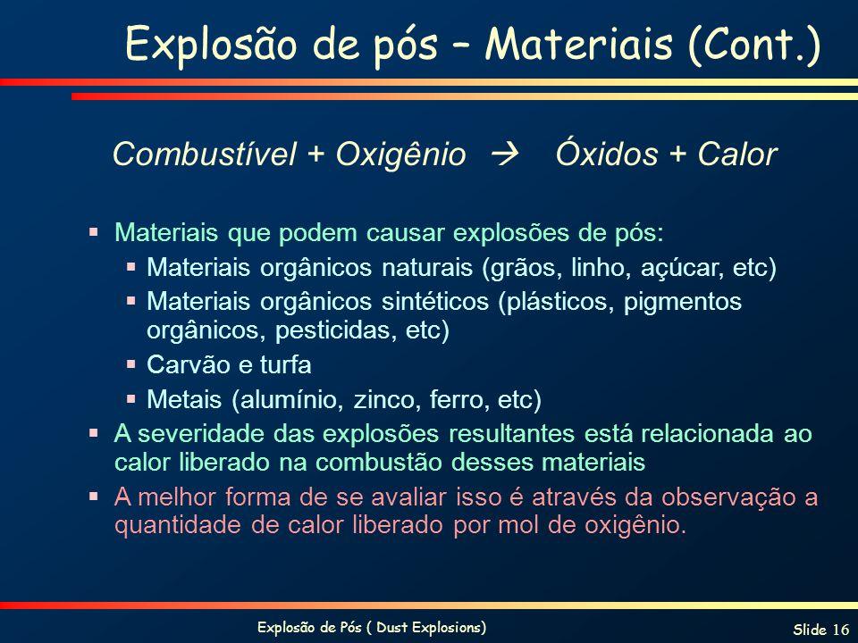 Explosão de pós – Materiais (Cont.)