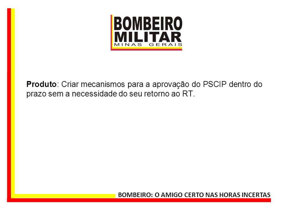 Produto: Criar mecanismos para a aprovação do PSCIP dentro do prazo sem a necessidade do seu retorno ao RT.
