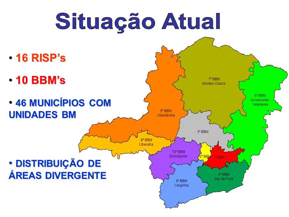 Situação Atual 16 RISP's 10 BBM's 46 MUNICÍPIOS COM UNIDADES BM