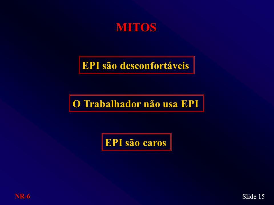 MITOS EPI são desconfortáveis O Trabalhador não usa EPI EPI são caros