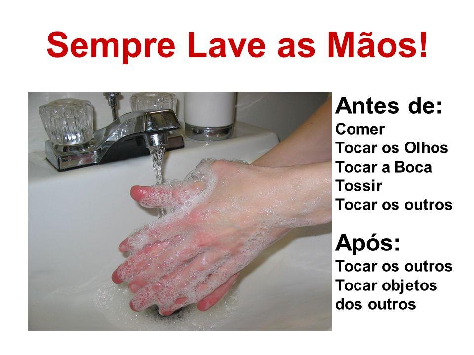 Sempre Lave as Mãos! Antes de: Após: Comer Tocar os Olhos Tocar a Boca