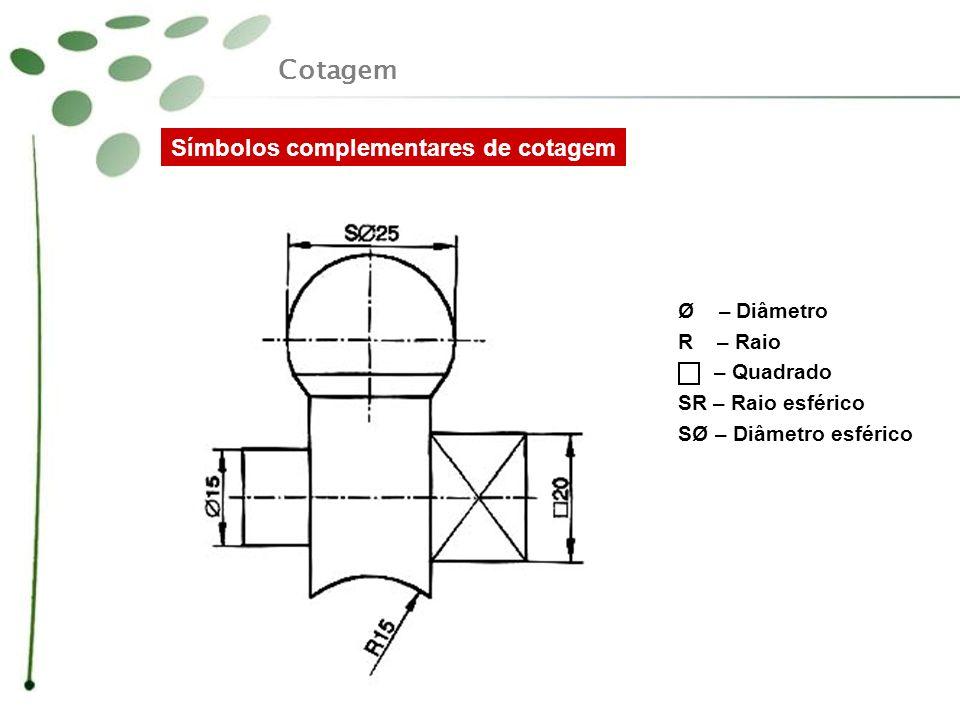 Cotagem Símbolos complementares de cotagem Ø – Diâmetro R – Raio