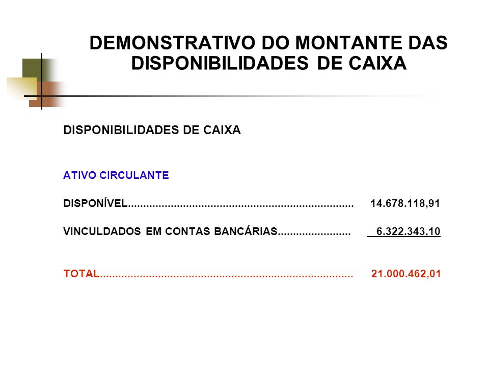 DEMONSTRATIVO DO MONTANTE DAS DISPONIBILIDADES DE CAIXA