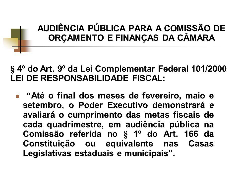 AUDIÊNCIA PÚBLICA PARA A COMISSÃO DE ORÇAMENTO E FINANÇAS DA CÂMARA