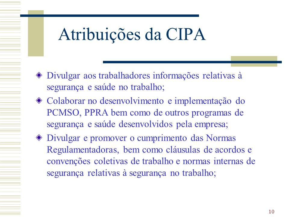 Atribuições da CIPA Divulgar aos trabalhadores informações relativas à segurança e saúde no trabalho;