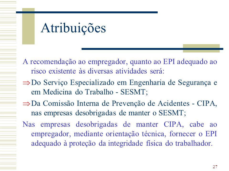Atribuições A recomendação ao empregador, quanto ao EPI adequado ao risco existente às diversas atividades será: