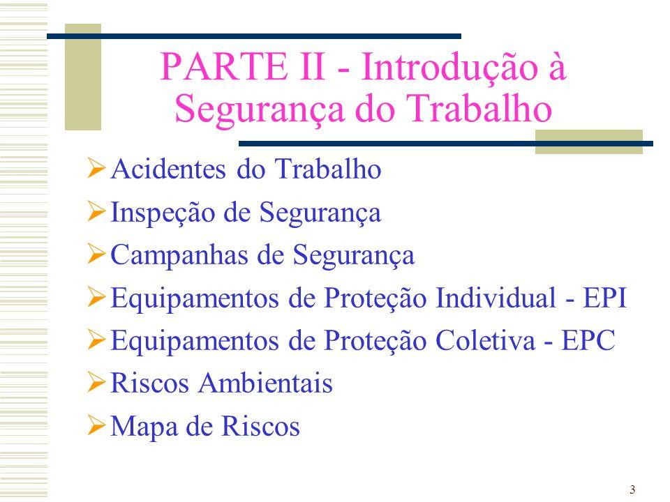 PARTE II - Introdução à Segurança do Trabalho