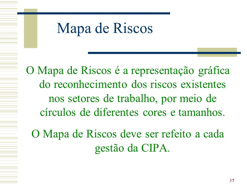 O Mapa de Riscos deve ser refeito a cada gestão da CIPA.