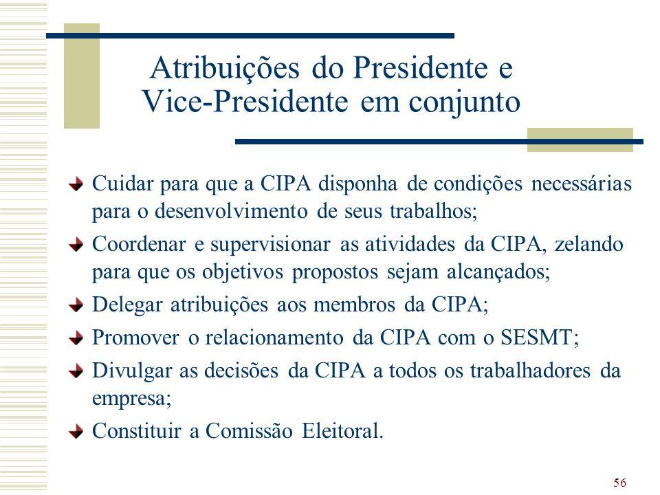 Atribuições do Presidente e Vice-Presidente em conjunto