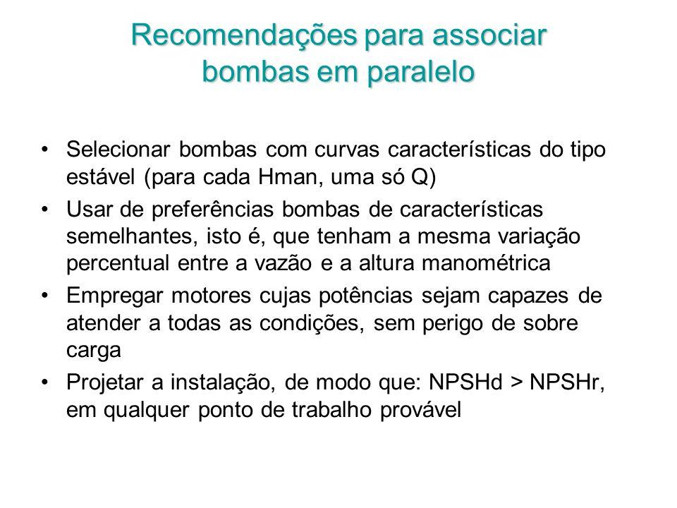 Recomendações para associar bombas em paralelo