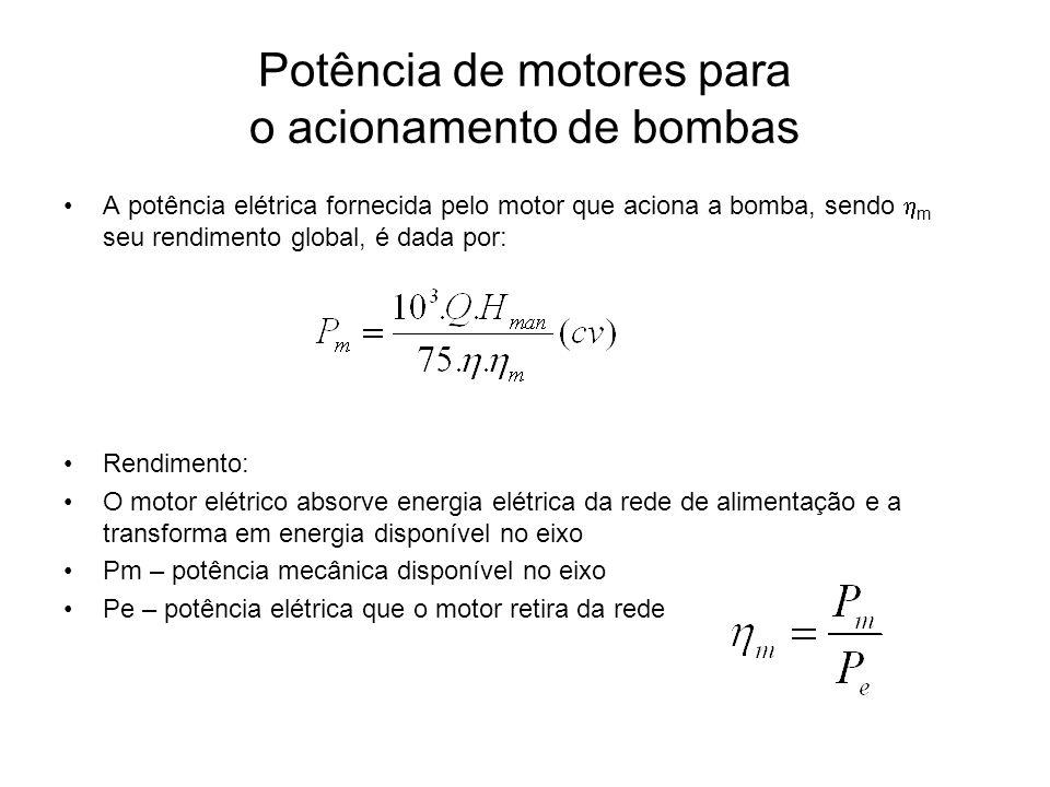 Potência de motores para o acionamento de bombas