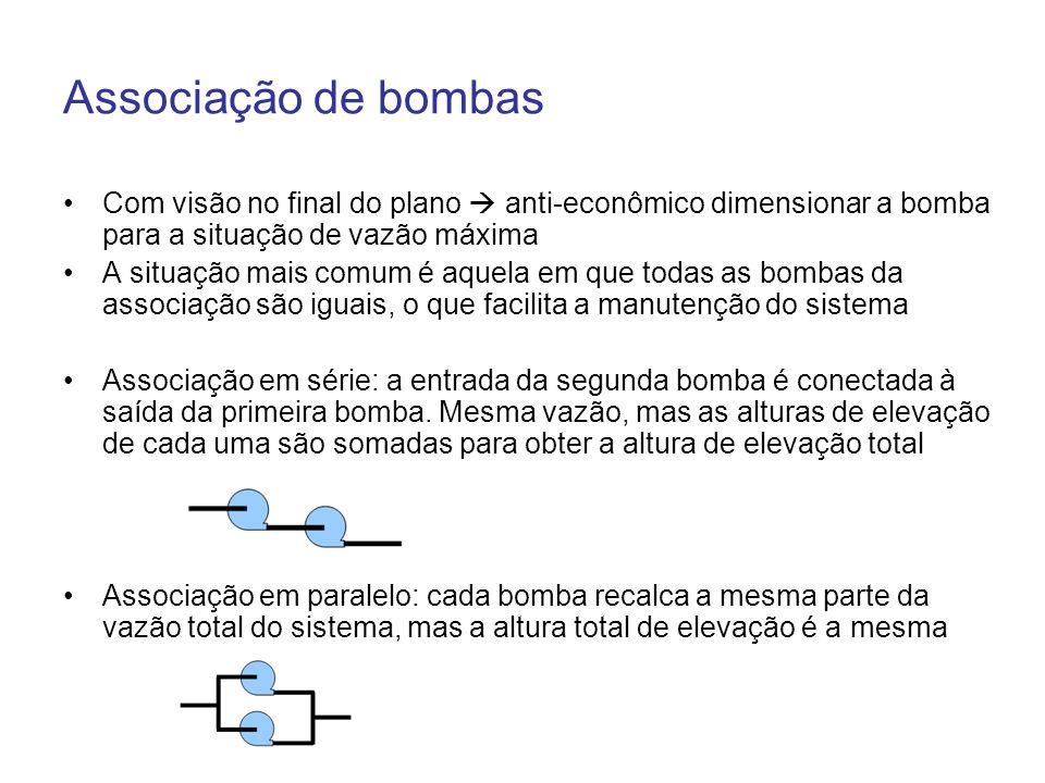 Associação de bombas Com visão no final do plano  anti-econômico dimensionar a bomba para a situação de vazão máxima.