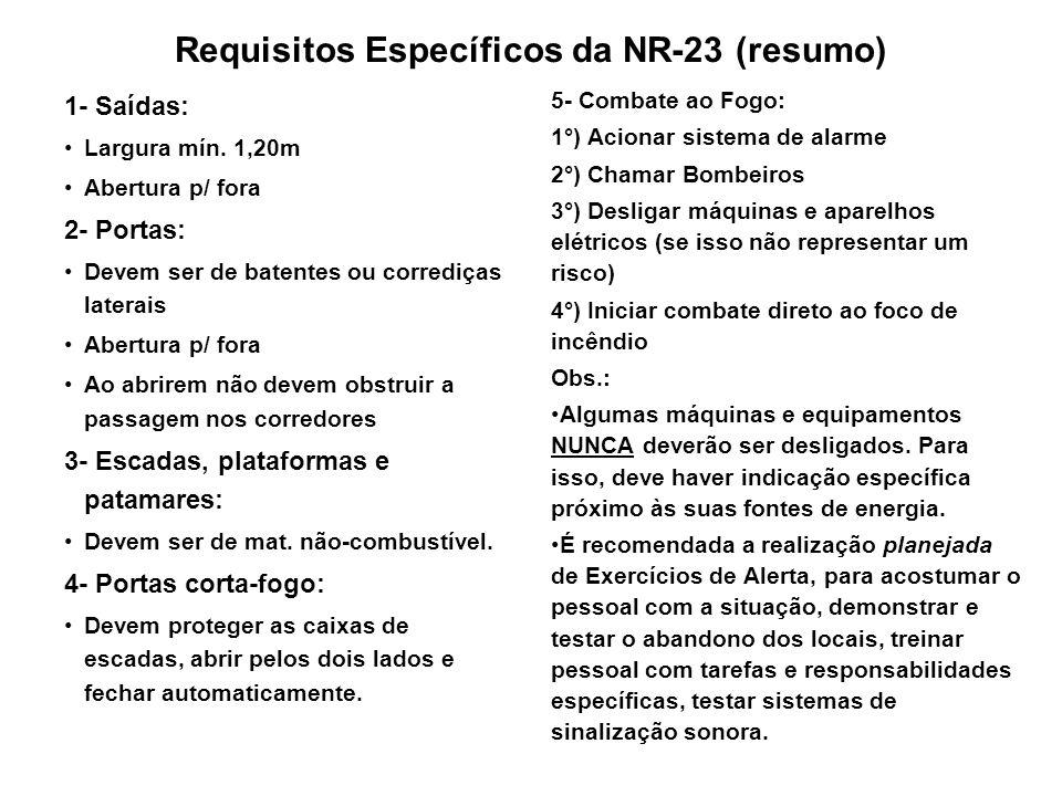 Requisitos Específicos da NR-23 (resumo)