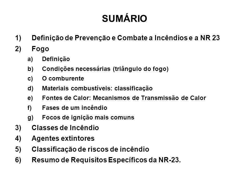 SUMÁRIO Definição de Prevenção e Combate a Incêndios e a NR 23 Fogo