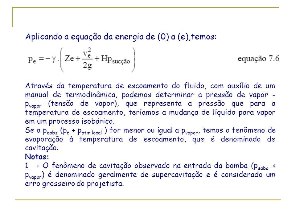 Aplicando a equação da energia de (0) a (e),temos: