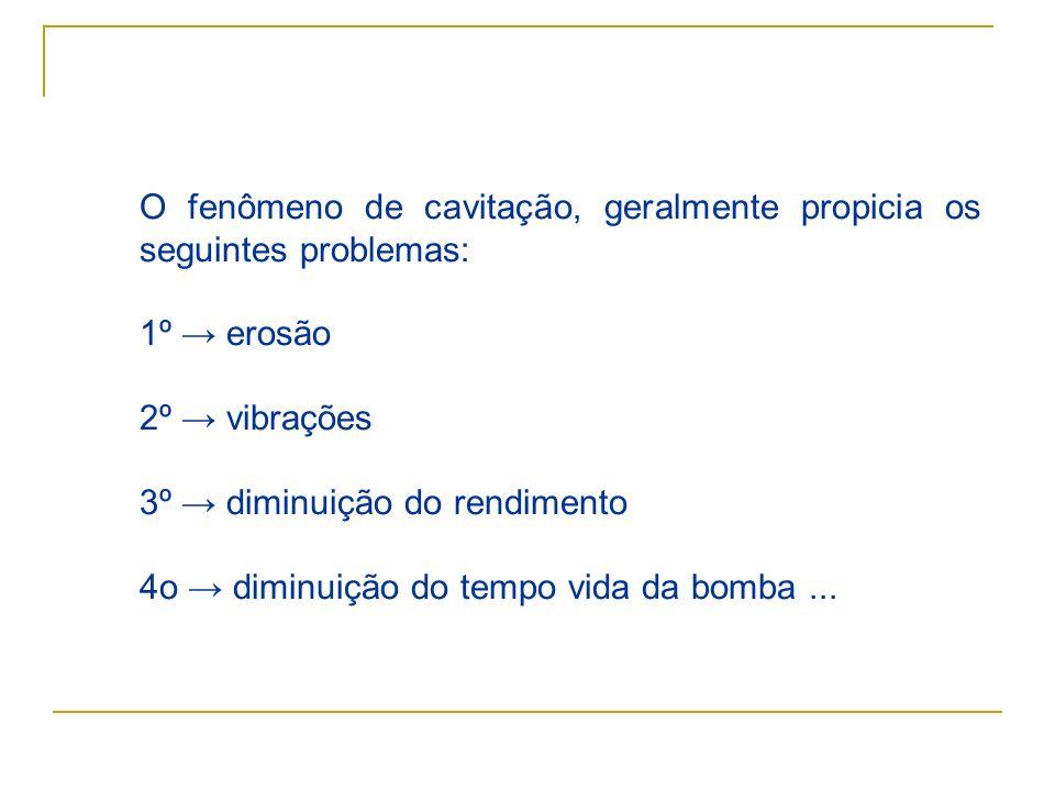 O fenômeno de cavitação, geralmente propicia os seguintes problemas: