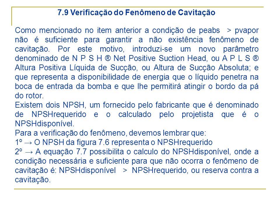 7.9 Verificação do Fenômeno de Cavitação