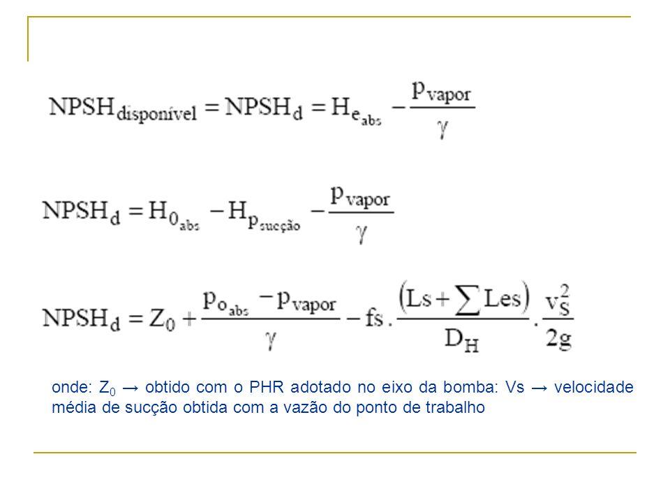 onde: Z0 → obtido com o PHR adotado no eixo da bomba: Vs → velocidade média de sucção obtida com a vazão do ponto de trabalho