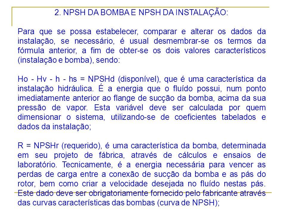 2. NPSH DA BOMBA E NPSH DA INSTALAÇÃO: