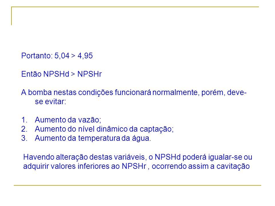 Portanto: 5,04 > 4,95Então NPSHd > NPSHr. A bomba nestas condições funcionará normalmente, porém, deve-se evitar: