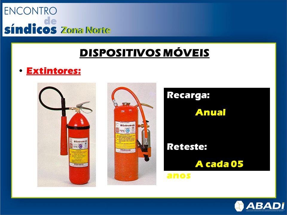 DISPOSITIVOS MÓVEIS Extintores: Recarga: Anual Reteste: A cada 05 anos