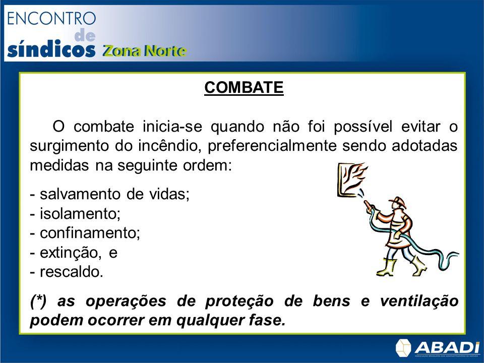 COMBATE O combate inicia-se quando não foi possível evitar o surgimento do incêndio, preferencialmente sendo adotadas medidas na seguinte ordem:
