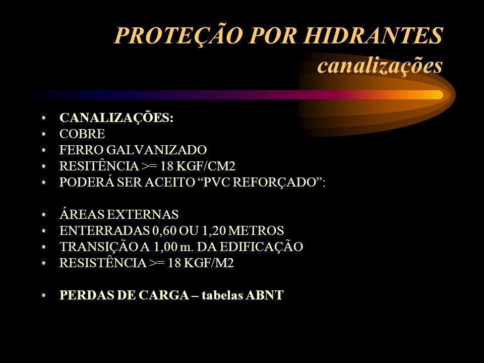 PROTEÇÃO POR HIDRANTES canalizações