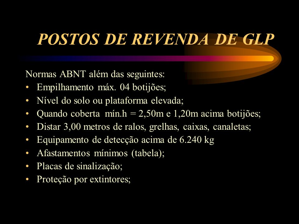 POSTOS DE REVENDA DE GLP