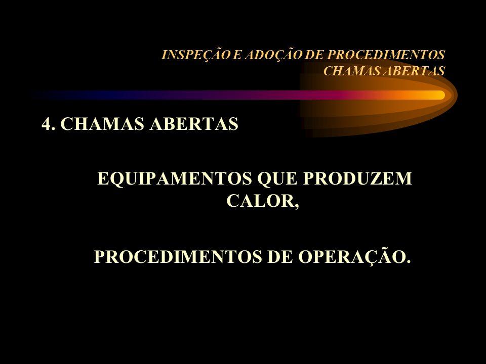 INSPEÇÃO E ADOÇÃO DE PROCEDIMENTOS CHAMAS ABERTAS