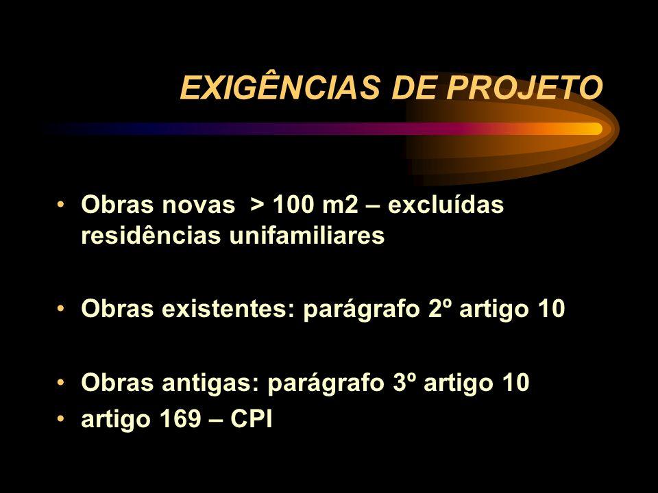 EXIGÊNCIAS DE PROJETO Obras novas > 100 m2 – excluídas residências unifamiliares. Obras existentes: parágrafo 2º artigo 10.