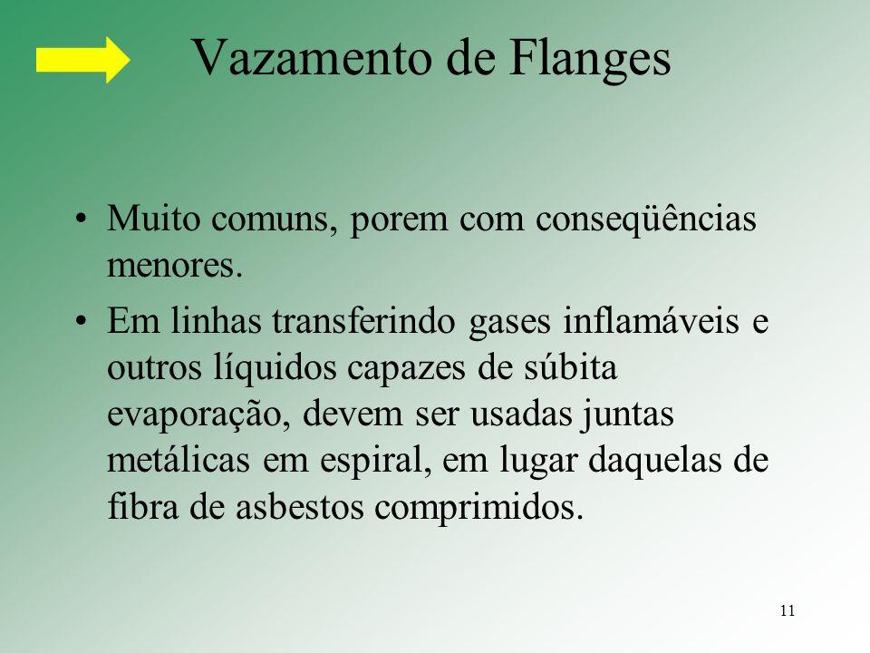 Vazamento de Flanges Muito comuns, porem com conseqüências menores.