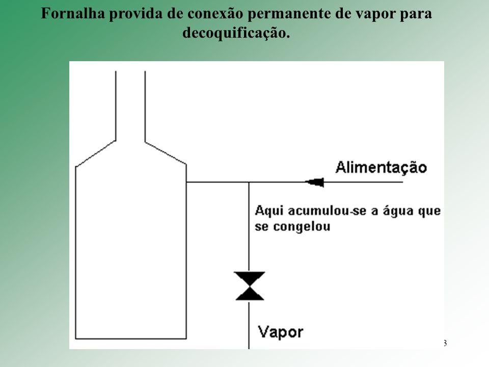 Fornalha provida de conexão permanente de vapor para decoquificação.