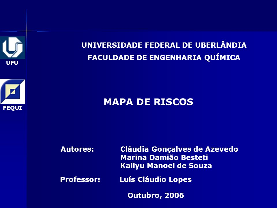 UNIVERSIDADE FEDERAL DE UBERLÂNDIA FACULDADE DE ENGENHARIA QUÍMICA