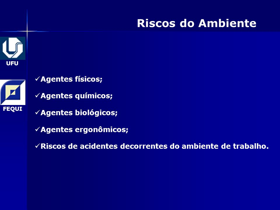 Riscos do Ambiente Agentes físicos; Agentes químicos;
