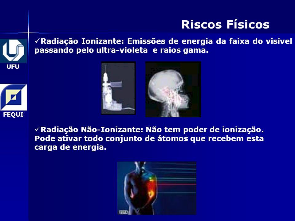 Riscos Físicos Radiação Ionizante: Emissões de energia da faixa do visível passando pelo ultra-violeta e raios gama.