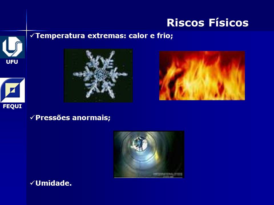 Riscos Físicos Temperatura extremas: calor e frio; Pressões anormais;