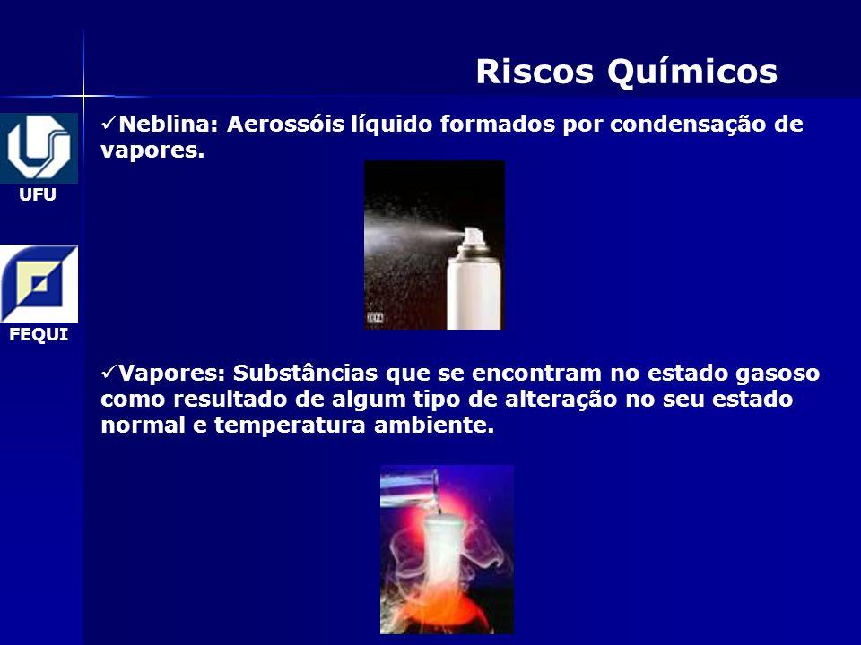Riscos Químicos Neblina: Aerossóis líquido formados por condensação de vapores.