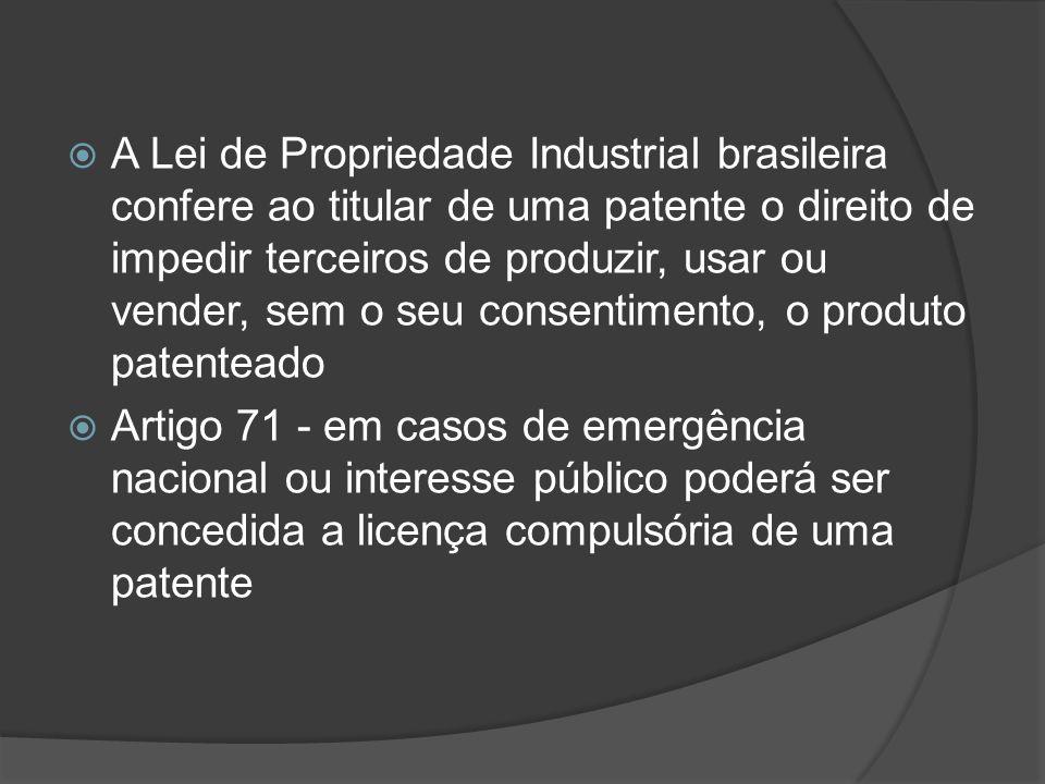 A Lei de Propriedade Industrial brasileira confere ao titular de uma patente o direito de impedir terceiros de produzir, usar ou vender, sem o seu consentimento, o produto patenteado