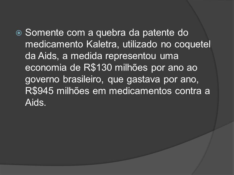 Somente com a quebra da patente do medicamento Kaletra, utilizado no coquetel da Aids, a medida representou uma economia de R$130 milhões por ano ao governo brasileiro, que gastava por ano, R$945 milhões em medicamentos contra a Aids.
